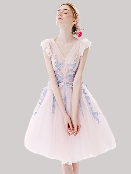 Ericdress Flowers Pleated Beading V-neck Sleeveless A-line Knee Length Homecoming Dress