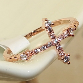 Cross Rhinestone Ring