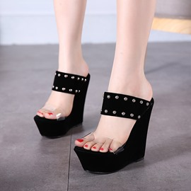 Ericdress Transparent Wedge Mules Shoes with Rivets