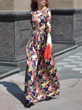 Ericdress European Prom Print Expansion Maxi Dress