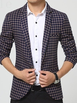 Ericdress Plaid Slim Quality Fit Vogue Men's Blazer