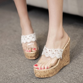 Ericdress Lace Transparent Wedge Mules Shoes