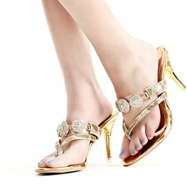 Ericdress Rhinestone Thong Stiletto Mules Shoes