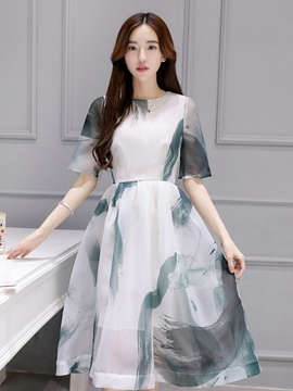 Ericdress Organza A-Line Dye Print Casual Dress