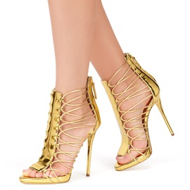 Ericdress Golden Cut Out Stiletto Sandals