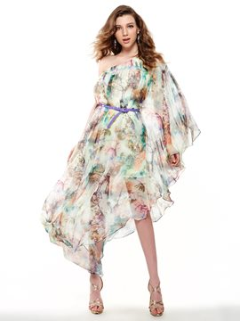 Ericdress Print One Shoulder Asymmetric Maxi Dress