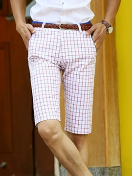 Ericdress Grid Straight Half Leg Men's Shorts