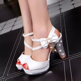 Ericdress Bowtie Crystal Peep-Toe Chunky Sandals