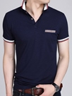 Ericdress Stripe Patchwork Short Sleeve Casual Men's Polo T-Shirt