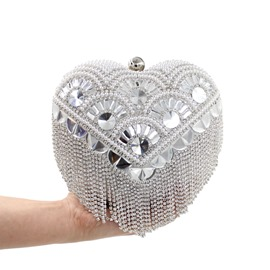 Ericdress Heart Shape Diamante Beaded Evening Clutch