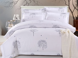 Ericdress White Scenery Print Cotton Bedding Sets