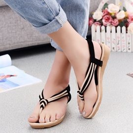Ericdress Contrast Color T Strap Thong Flat Sandals