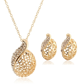 Two-Piece Circular Hollowed Out Jewelry Set
