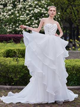 Ericdress Elegant Sweetheart Beaded A Line Wedding Dress