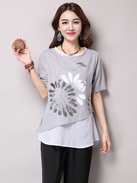 Ericdress Color Block Loose Printed Casual T-Shirt