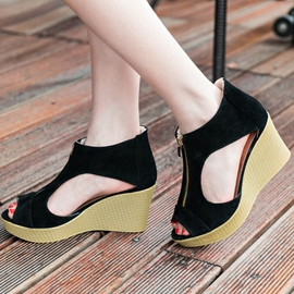 Ericdress Peep Toe Zipper Platform Wedge Sandals