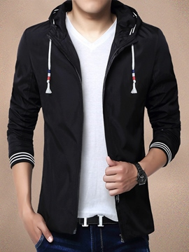 Ericdress Solid Color Zip Casual Men's Jacket