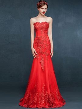 Ericdress Sheath Sweetheart Appliques Beading Floor-Length Evening Dress