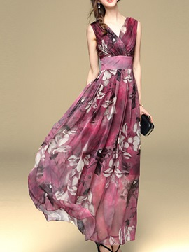 Ericdress Flower Print High-Waist V-Neck Maxi Dress