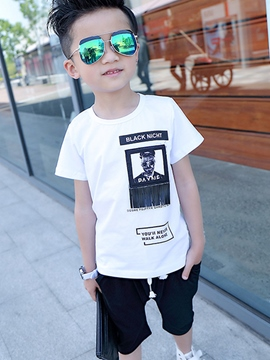 Ericdress Print Leather Patchwork Lace-Up Boys Outfits