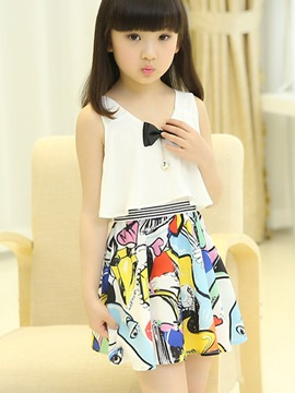 Ericdress Floral Patchwork Sleeveless Girls Dress