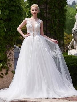 Ericdress Beautiful Sheer Neck A Line Wedding Dress