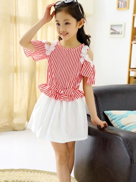 Ericdress Preppy Off Shoulder Girls Dress
