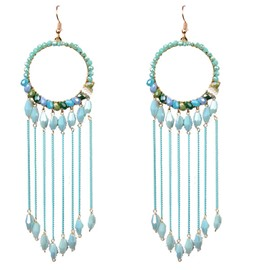 Blue Circle Tassel Earrings