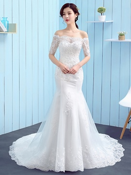Ericdress Charming Off The Shoulder Mermaid Wedding Dress With Sleeves