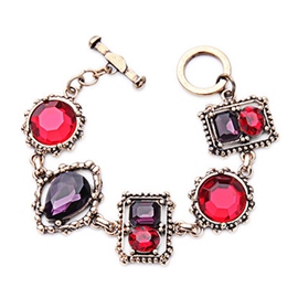Red Gem Geometry Bracelet