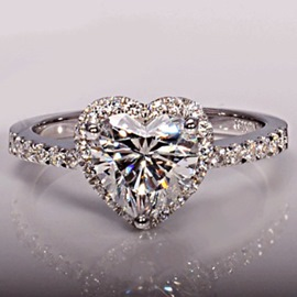 Simulation Diamond Love Ring