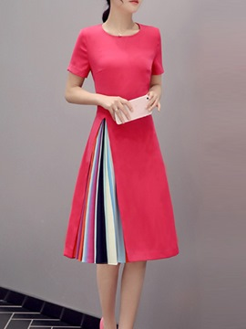 Ericdress Color Block Patchwork Short Sleeve Round Neck Casual Dress