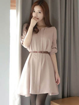 Ericdress Ladylike Soild Color Half Sleeve Belt Casual Dress