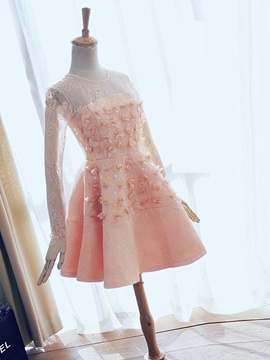 Ericdress A-Line Scoop Long Sleeves Beading Lace Short Homecoming Dress