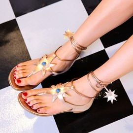 Ericdress Star Thong Lace up Flat Sandals