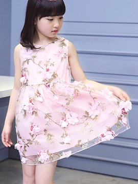 Ericdress Floral Print Girls Dress