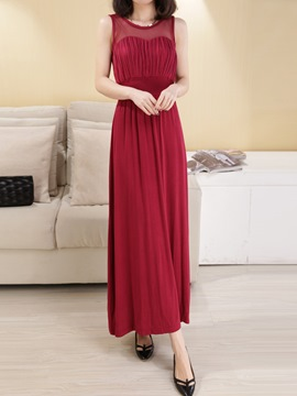 Ericdress Mesh Patchwork Solid Color Maxi Dress