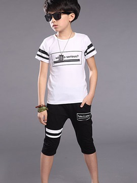 Ericdress Letter Printed Strips Zipper Boys Outfits