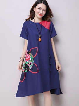 Ericdress Pastoral Loose Ethic Print Casual Dress
