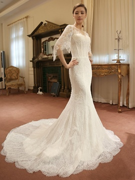 Ericdress Beautiful Illusion Neckline Lace Mermaid Wedding Dress With Sleeves