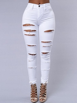 Ericdress Fashion Slim Ripped Jeans