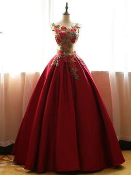 Ericdress Scoop Ball Gown Embroidery Floor-Length Quinceanera Dress