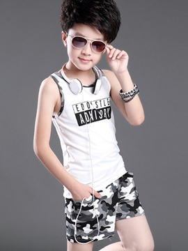 Ericdress Letter Printed Camouflage Sleeveless Boys Outfits