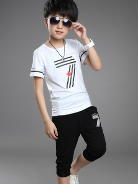 Ericdress Print Pocket Short Sleeve Boys Outfits