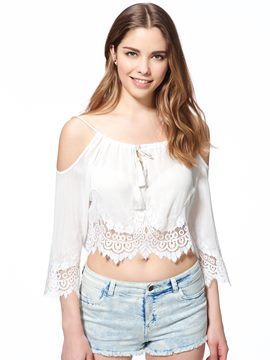 Ericdress Solid Color Lace Patchwork Off-Shoulder Blouse