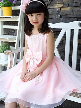 Ericdress Bowknot Sleeveless Girls Dress