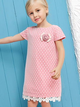 Ericdress Short Sleeve Round Neck Girls Dress