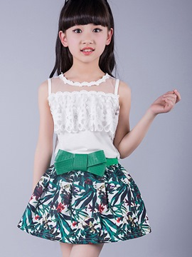 Ericdress Floral Skirt Girls Outfit
