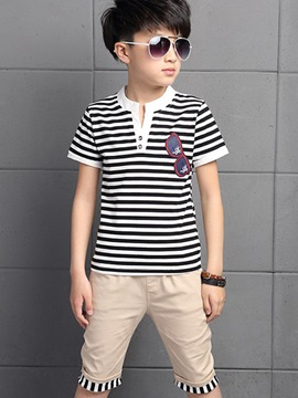 Ericdress Patchwork Strips Printed Stand Collar Boys Outfits