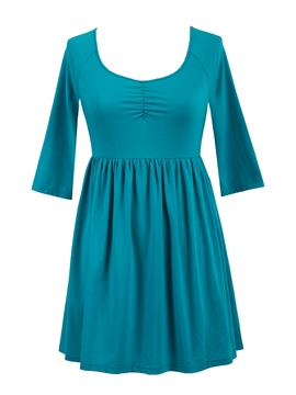Ericdress Solid Color Pleated Slim Casual Dress